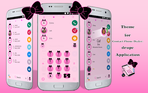 Ribbon Black Pink Contacts & Dialer Phone Theme 10.0 Android Mod APK 1