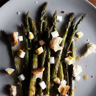 Roasted Asparagus with Chopped Egg and Torn Bread