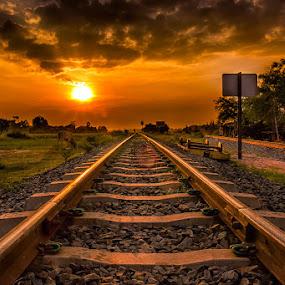 Along the rails by Liquid Lens - Transportation Trains (  )