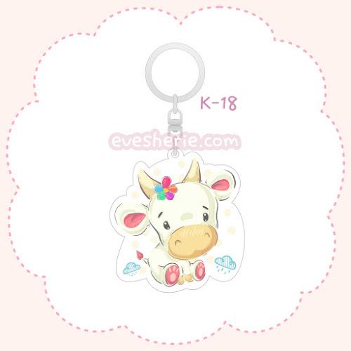 พวงกุญแจอะคริลิค ลายลูกวัวสีขาว พวงกุญแจลูกวัวสีขาว