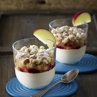 Rooibos Tea Pudding with Apple Compote and Cinnamon Crumble.