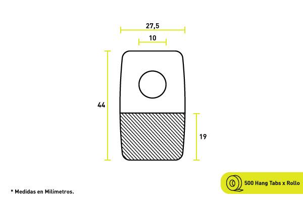Hang tab para productos sin posibilidad de colgar, tiene adhesivo incorporado