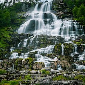 Norwegian Waterfall by Celestyx Celestyx - Landscapes Waterscapes ( water, waterscape, green, waterfall, long exposure, norway )