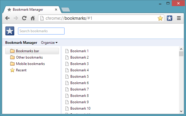 Bookmarks Shortcut for Google Chrome™