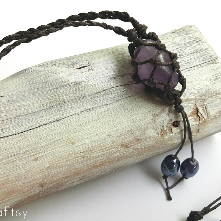 Amethyst - Boho Wrapped Crystal Necklace by The Artsy Craftsy