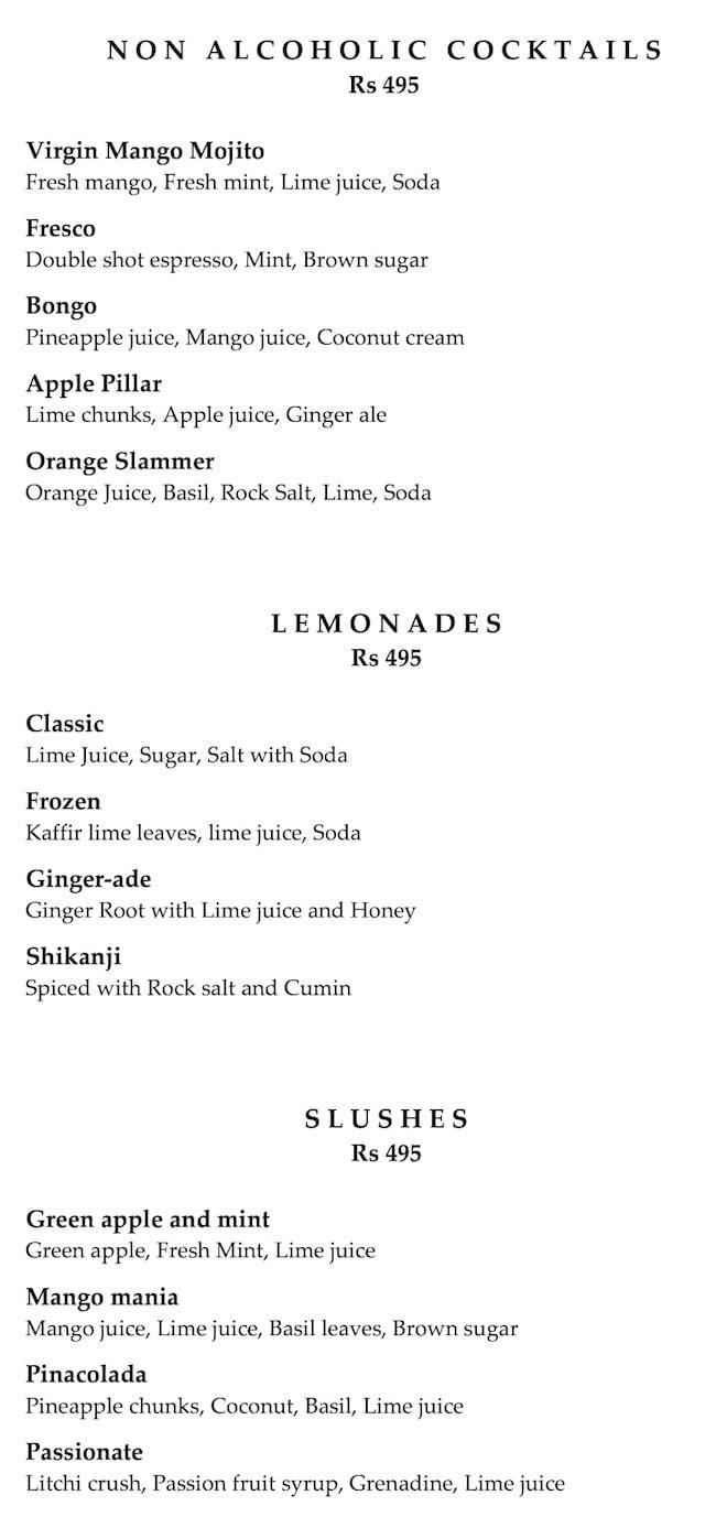 Amaranta, The Oberoi menu 1