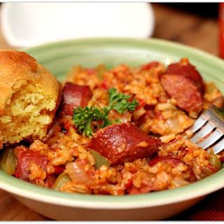 Rice Cooker Sausage Jambalaya.