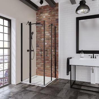 Accès d'angle droit avec portes battantes, 80 et 80 cm ou 90 et 90 cm, style industriel, profilé noir