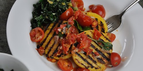 Grilled Polenta with Cherry Tomatoes