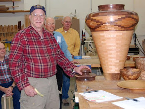 Photo: Bob Grudberg turned this nearly 3 foot tall segmented jar.  He was asked at Thanksgiving how large a piece he could make, and this is what he came up with.