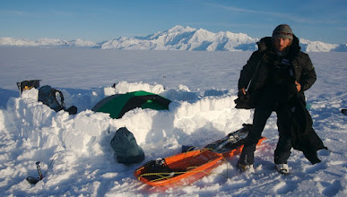 Photo: Day 9. Camp on Seward Glacier. Mount Vancouver in the background.