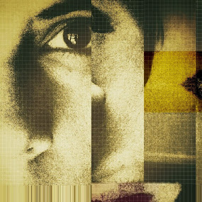 Analyze this by Mansi Bhatia - Abstract Fine Art ( face, iphoneography, woman, lips, portrait, fragmented, eyes )