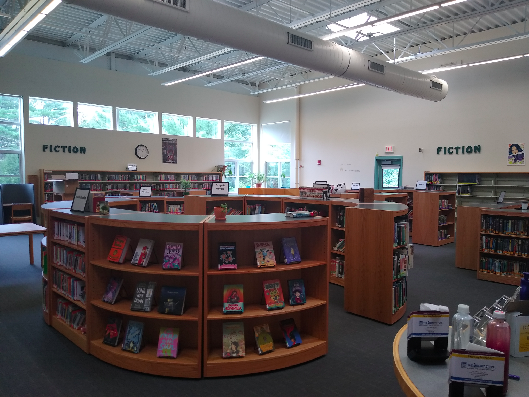 the shelves with books in the freshly redesigned RMS library