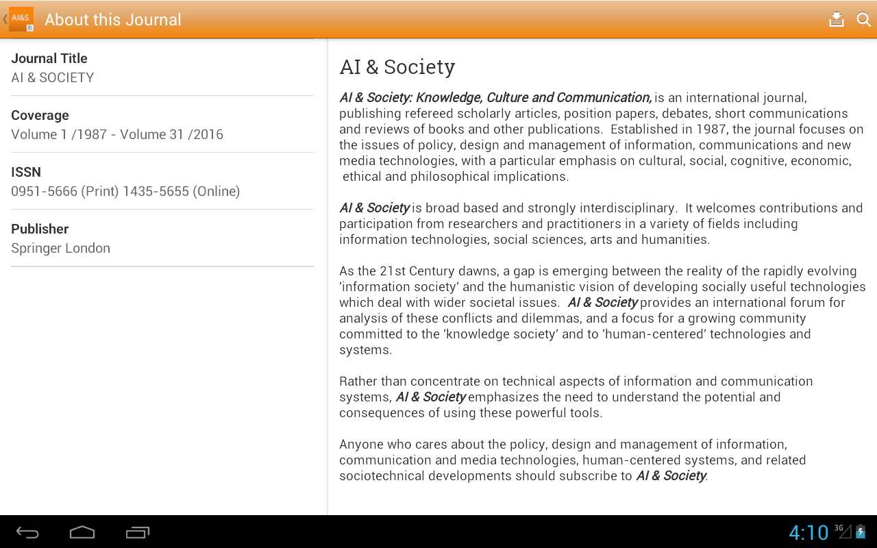 AI & Society- screenshot