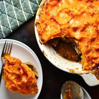 Vegetarian Sausage Mushroom Sweet Potato Pie.