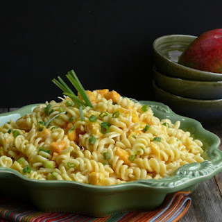 Mango and Papaya Pasta Salad with Creamy Lime Vinaigrette.