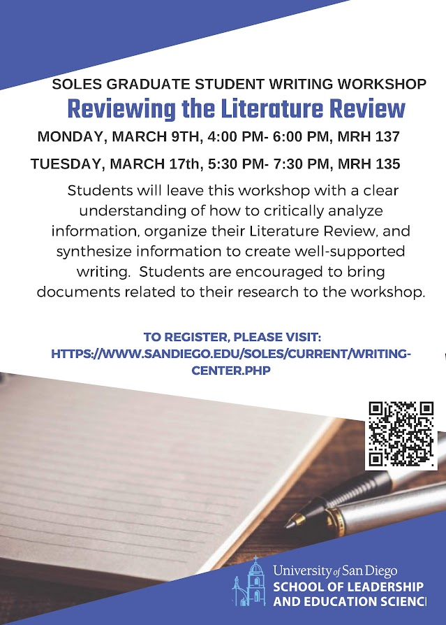 SOLES Graduate Student Writing Workshop: Reviewing the Literature Review, Monday March 9 from 4-6pm in MRH 137 and Tuesday March 17 from 5:30-7:30pm in MRH 135
