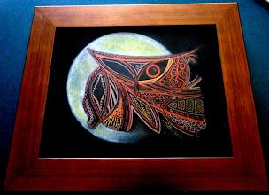 Photo: 005 СОВА-ДРІМЛЮГА ~ NIGHT OWL Luba Bilash original mixed media framed $130 SOLD