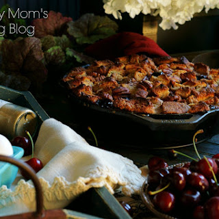 Cherry Chai Pecan Skillet Bread Pudding