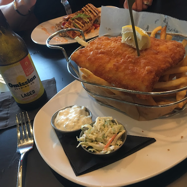 "GF ""Fish and Chips"" paired with the GF beer ""Omission""!"