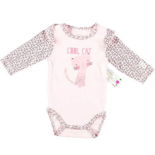 Baby Body Long Sleeve Cool Cat Rosa Crossbow