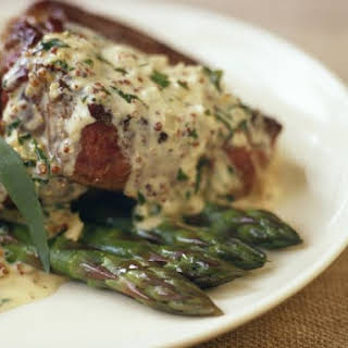Steak with Herby Cream Sauce.