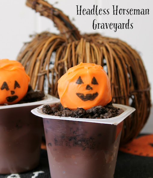 Headless Horseman Graveyard Pudding Cup Halloween Treats