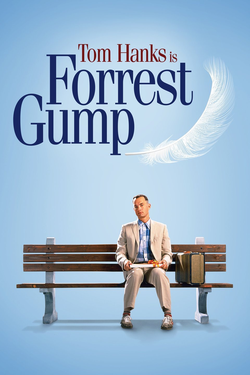Movie poster for Forrest Gump, showing actor Tom Hanks sitting on a bench wearing a suit and holding a box of chocolates.
