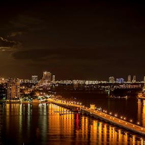 Moon over Miami Beach by Ken Wagner - City,  Street & Park  Skylines ( skyline, moon, florida, miami, night, bridge, nikon, nightscape )