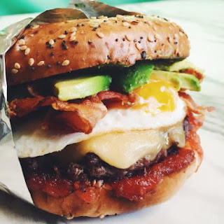 The Ultimate Avocado Bacon Breakfast Burger with Gouda and Tomato Jam
