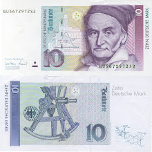 Photo: Carl Friedrich Gauss, 10 Deutsch Marks (1991). Carl Friedrich Gauss was born in Germany in 1777. Many enthusiasts of mathematical history would place him with Euler and Newton as one of the three best mathematicians of all time. Compared to Euler, Gauss published relatively little during his lifetime; however, virtually everything he did was extremely impactful (his motto was 'pauca sed matura,' which means 'few but ripe'). This note is now obsolete.