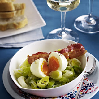 Soft Boiled Eggs with Leeks and Bacon.