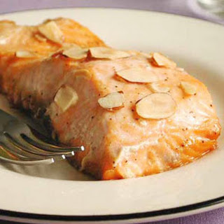 Salmon with Maple Syrup and Toasted Almonds.