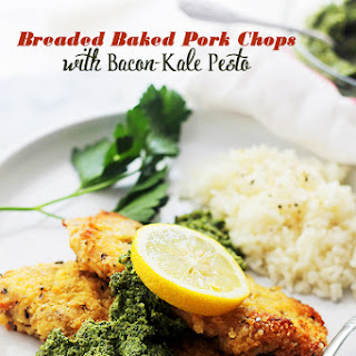 Breaded Baked Pork Chops with Bacon-Kale Pesto.