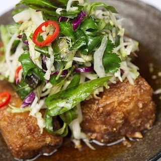 Red Spice Road's pork belly with chilli caramel and apple slaw.