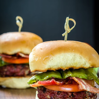 Hatch Chile Gruyere Burgers with Bacon and Crab Stuffed Mushrooms