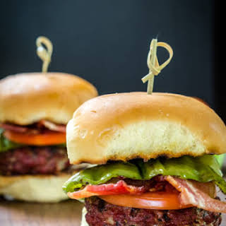 Hatch Chile Gruyere Burgers with Bacon and Crab Stuffed Mushrooms.