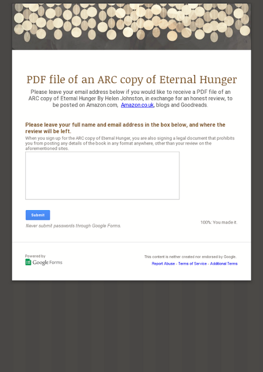 PDF file of an ARC copy of Eternal Hunger