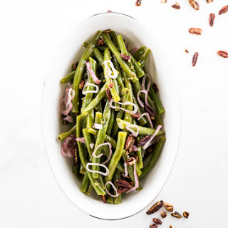 Green Beans with Pecan Honey Mustard Dressing.
