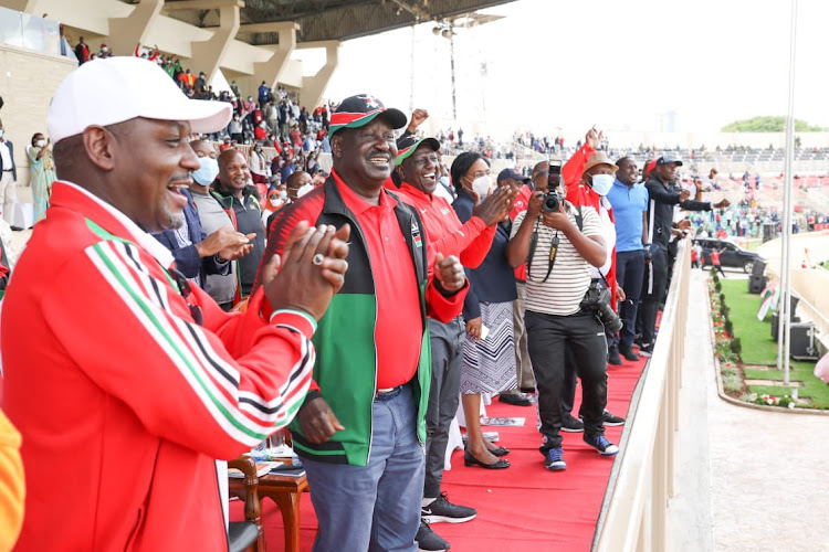 ODM leader Raila Odinga and Ddeputy President William Ruto at Nyayo Stadium during the Kip Keino Classic sport even.
