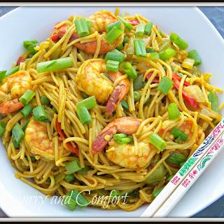 Singapore Noodles with Shrimp.