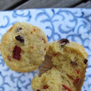 Savory Muffins with Harissa, Olives & Roasted Red Pepper