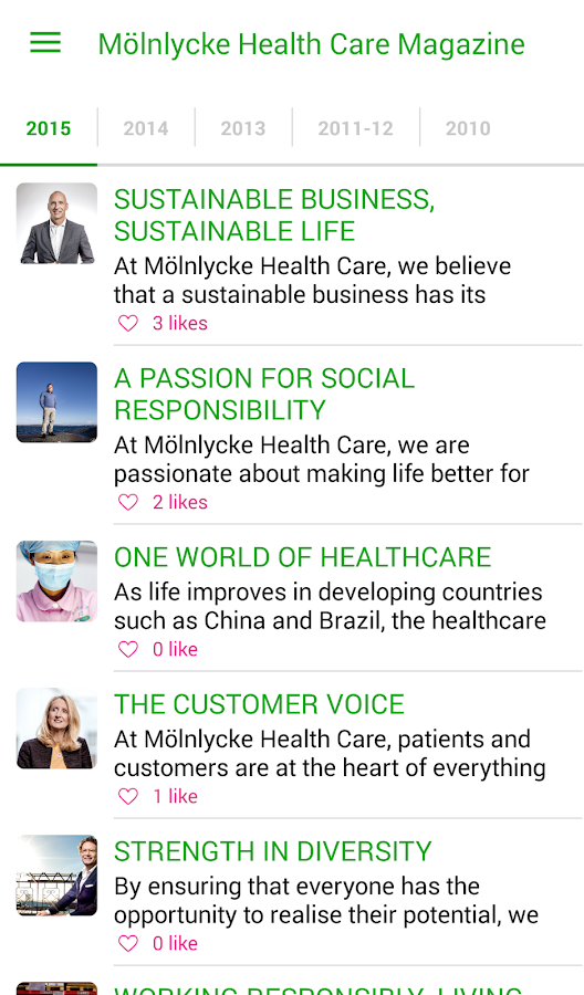 Mölnlycke Health Care Magazine- screenshot