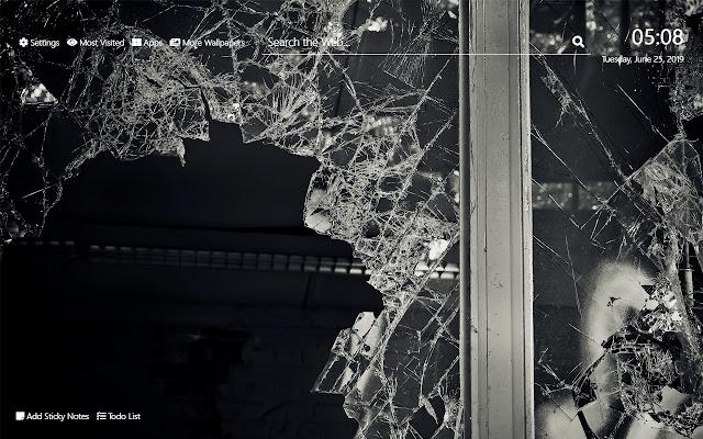 Broken Glass Wallpaper HD New Tab Theme