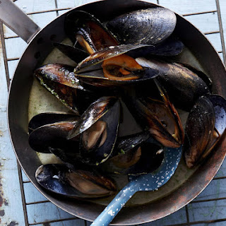 Grilled Lime and Ginger Mussels.