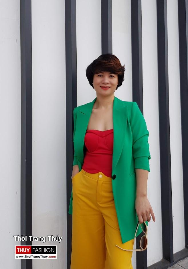 Áo vest nữ dáng suông mix quần culottes áo croptop V696 thời trang thủy hải phòng 2