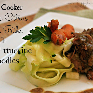 "Slow Cooker Garlic Citrus Short Ribs with ""Faux""-ttuccine Noodles"