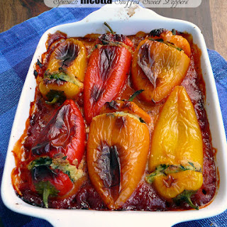 Spinach Ricotta Stuffed Sweet Peppers.