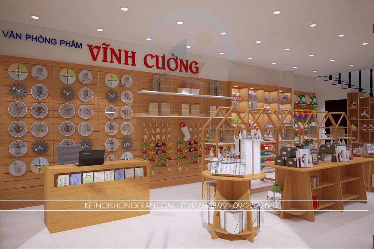 thiết kế cửa hàng quà tặng, thiết kế cửa hàng văn phòng phẩm