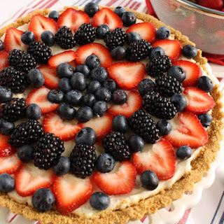 Red, White and Blue Berry Fruit Tart.